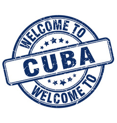 Welcome to cuba blue round vintage stamp vector