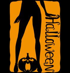 Womens legs and halloween pumpkin vector