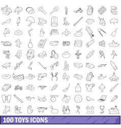 100 toys icons set outline style vector