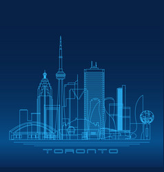 toronto skyline detailed silhouette vector image