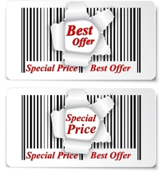 Sale design on torn barcode vector