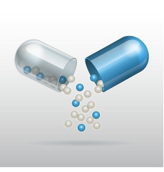 Opening medical blue capsule vector