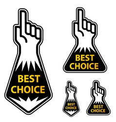 Forefinger indicating the best choice labels vector