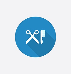 Barbershop flat blue simple icon with long shadow vector