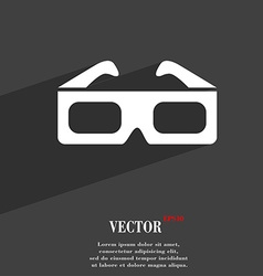 3d glasses symbol Flat modern web design with long vector image