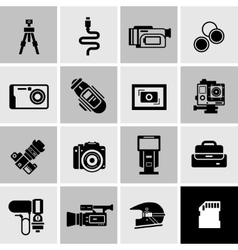Camera icons black vector