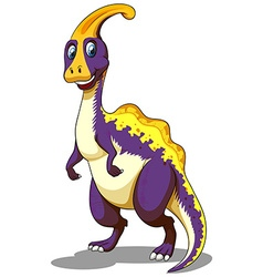 Purple parasaurolophus standing on two feet vector