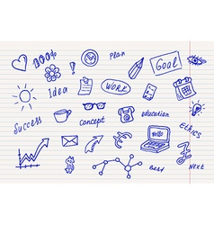 Collection of business doodle sketch objects and vector