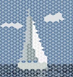 Mosaic sailing boat vector