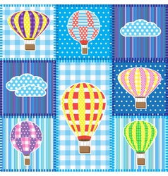 Patchwork with hot air balloons vector image