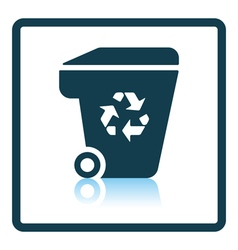 Garbage container with recycle sign icon vector