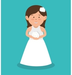 Beautiful bride wedding with bouquet flowers vector
