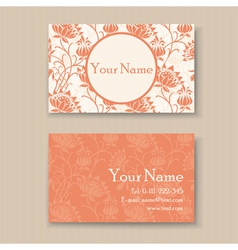 business card floral orange vector image