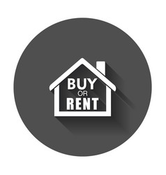 Buy or rent house home symbol with the question vector