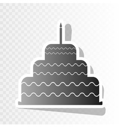 Cake with candle sign new year blackish vector