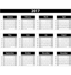 Calendar 2017 on white background vector image vector image