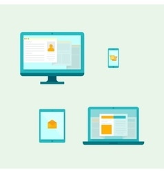Computer Mobile phone Tablet Laptop Icons vector image vector image