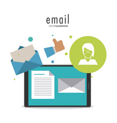 Envelope avatar document smartphone email icon vector