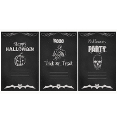 Halloween greeting cards set Grunge vector image
