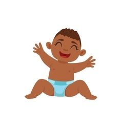 Happy Black Boy Infant In Diaper Sitting Part Of vector image vector image