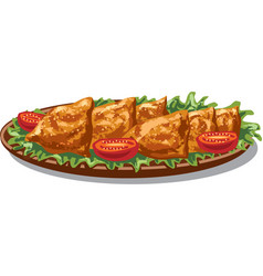 Indian food samosas vector