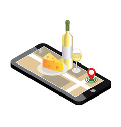 isometric food delivering looking for bar or vector image vector image