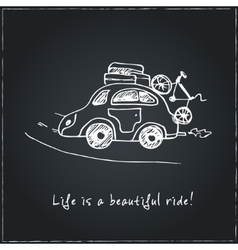 Life is a beautiful ride hand drawn typography vector