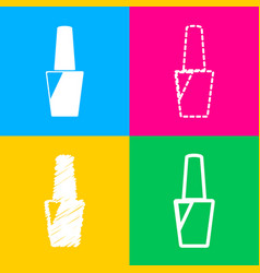 nail polish sign four styles of icon on four vector image