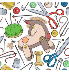 Pattern with sewing accessories and toy donkey vector