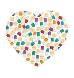 pill capsule drug heart vector image