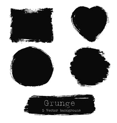 Set of black ink stains vector