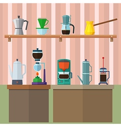 set of vintage coffee maker flat design icons set vector image