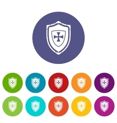 Shield with cross set icons vector