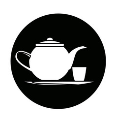 Teapot and cup beverage element icon vector