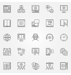 Webinar and online education icons vector image vector image