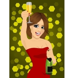 Woman toasting with lingerie vector