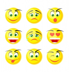 yellow smile icons vector image vector image