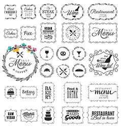 Vintage Restaurant Menu and Bakery Frame and Labe vector image