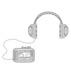 player with headphones coloring for adults vector image