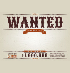 Wanted western movie poster vector