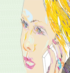 Girl on the phone vector
