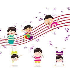 Kids enjoying playing music vector