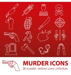 Murder outline icons vector