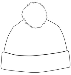 Winter hat outline drawings vector