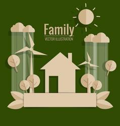 Eco friendly paper cut of house and trees vector