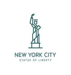 Statue of liberty outline logo into flat vector