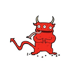 Comic cartoon little demon vector