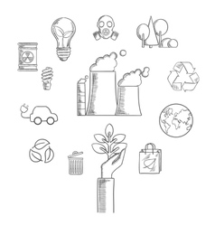 Environment and ecological conservation sketch vector