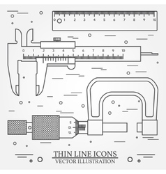 Set thin line icons caliper ruler and vector