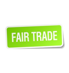 Fair trade green square sticker on white vector